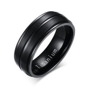 Stainless Steel Black Men's Wedding Ring